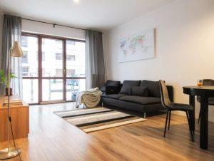 salon otwarty, kanapa, drewno, apartament