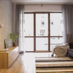beton, architektoniczny, podłoga drewniana, beton na ścianie